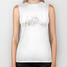 Watercolor landscape illustration_India - Taj Mahal Biker Tank