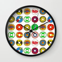 Superhero Donuts Wall Clock