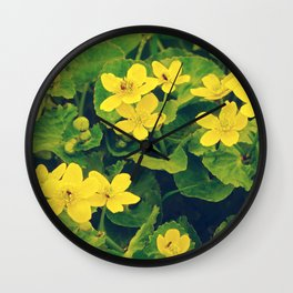 Yellow Flowers and bees Wall Clock