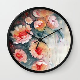 Floral Impressionist Watercolor Wall Clock