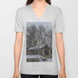 Babson museum in the snow Unisex V-Neck
