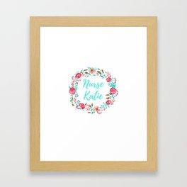 Nurse Katie - Floral Wreath - Watercolor Framed Art Print