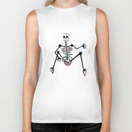 Black Skeleton  Female Biker Tank