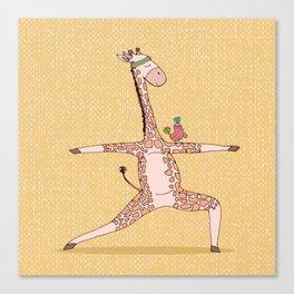 Yoga Giraffe Warrior Asana Canvas Print
