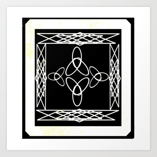 Celtic Deco Black and White Art Print