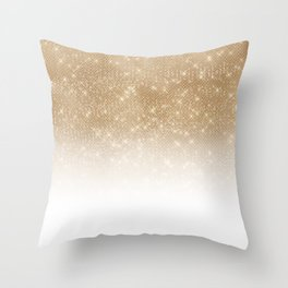 Glamorous Gold Glitter Sequin Ombre Gradient Throw Pillow