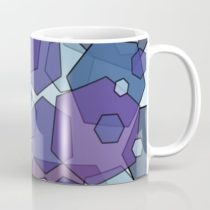 Converging Hexes - purple and blue Coffee Mug
