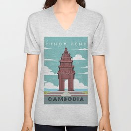 Phnom penh, Cambodia- Retro travel minimalistic poster Unisex V-Neck