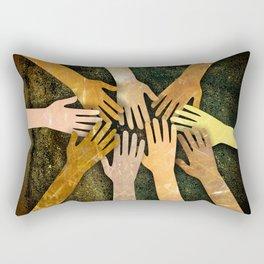 Grunge Community of Hands Rectangular Pillow