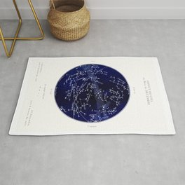 French December Star Map in Deep Navy & Black, Astronomy, Constellation, Celestial Rug