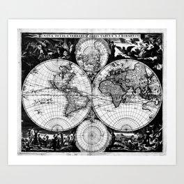 Vintage Map of The World (1685) Black & White Art Print
