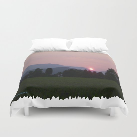 Vermont Sunset over Green Mountains of Vermont Duvet Cover