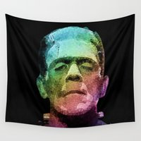 frankenstein Wall Tapestries featuring frankenstein - pop art by Ancello
