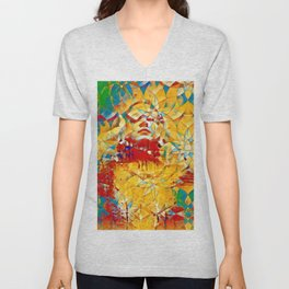 6759s-KMA The Woman in the Stained Glass Sensual Feminine Energy Emerging Unisex V-Neck