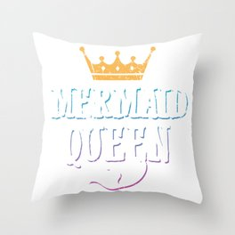 Mermaid Queen Matching Birthday Bachelorette Party Apparel Throw Pillow