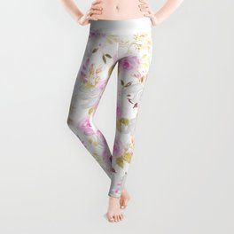 Modern pink gray watercolor hand painted floral elephant Leggings