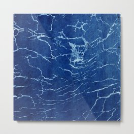 Cracks and Scratches on Midnight Blue Suede Leather Metal Print