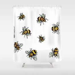 Just Some Beez A - White Shower Curtain