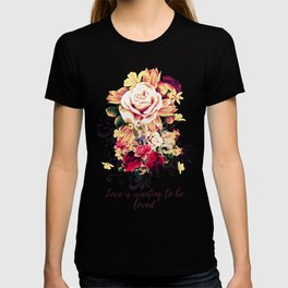 Roses and lilac. Beautiful victorian design on blue T-shirt