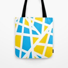 Abstract Interstate  Roadways Aqua Blue & Yellow Color Tote Bag
