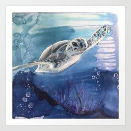 Swim on.....Sea Turtle Swimming Art Print