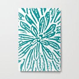 Blue Linocut Flower Textile Metal Print