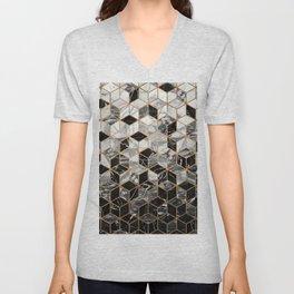 Marble Cubes - Black and White Unisex V-Neck