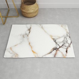 White gray and rose-gold faux marble Rug