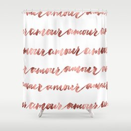 Amour French Love Script Rose Gold Typography Pattern Shower Curtain