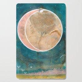 Pink Eco Print Moon Cutting Board