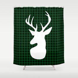 Elegant Green Plaid Deer Design Shower Curtain