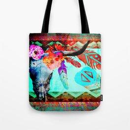 Neon Floral Boho Longhorn Tote Bag