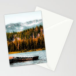 boat on the lake with pine tree and mountain background at Mammoth Lakes, California, USA Stationery Cards