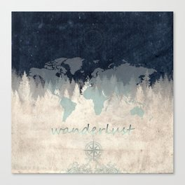 world map wanderlust forest 2 Canvas Print