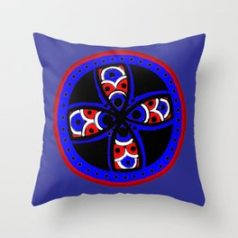 Blue and red tribal Throw Pillow