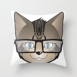 Tabby Glasses Throw Pillow