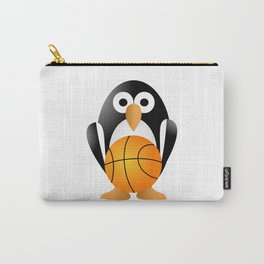 Funny penguin with a basketball ball Carry-All Pouch