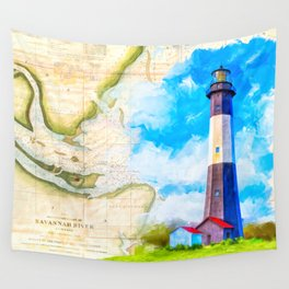 Tybee Island Lighthouse - Vintage Nautical Map Collage Wall Tapestry