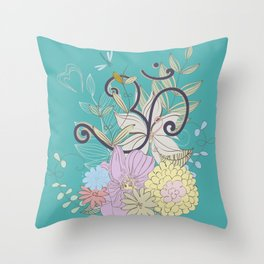 Bohemian Pastel Flower composition with  OM symbol Throw Pillow