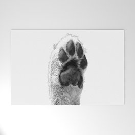 Black and White Dog Paw Welcome Mat