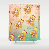 sailor venus Shower Curtains featuring Sailor Venus Pattern by Neo Crystal Tokyo