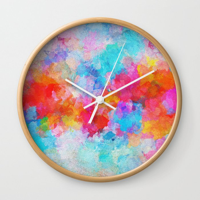 Colorful Abstract Painting - Cloudy Painting Wall Clock