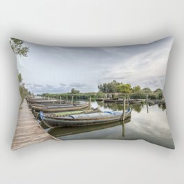 Boats in a lagoon port Rectangular Pillow