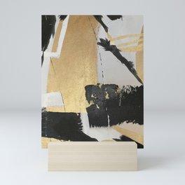 Gold leaf black abstract Mini Art Print