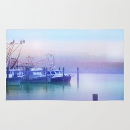 Moored Boats In the Early Morning Fog Rug