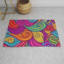 Vivid Whimsical Jewel Tone Retro Wave Print Pattern Rug