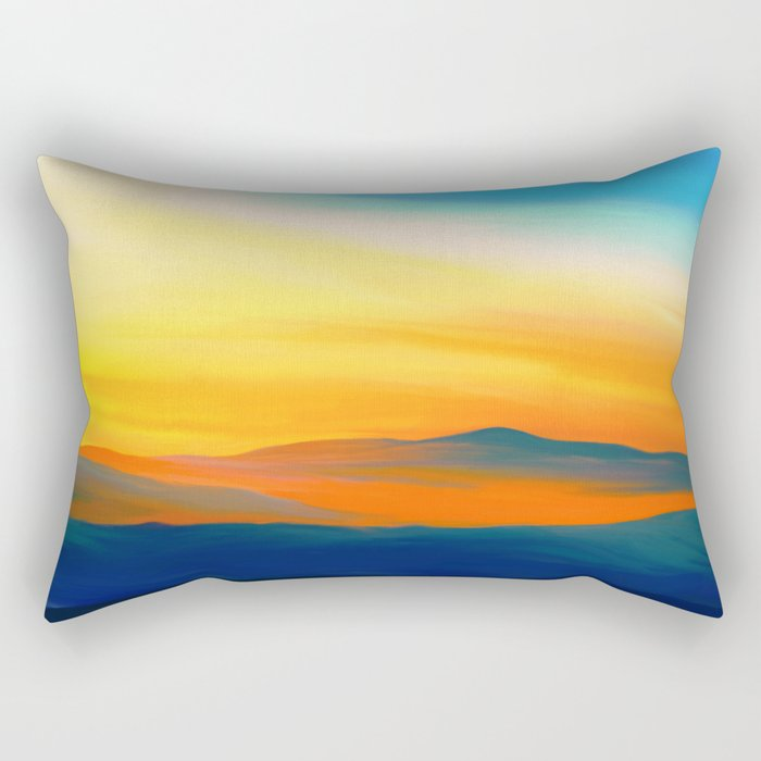 Painting of a landscape in blue, yellow and orange Rectangular Pillow