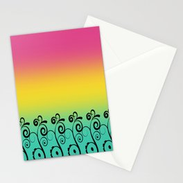 Ombre  Misty Rainbow Black Swirl Pattern - Pink, Yellow & Turquoise Stationery Cards