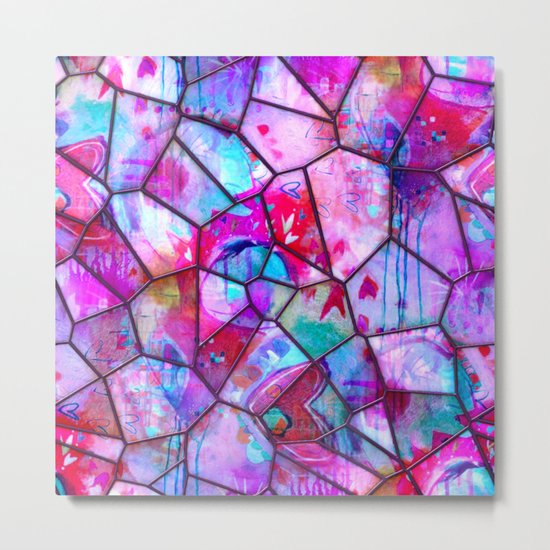 Painted Stained Glass Metal Print