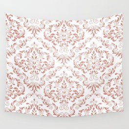 Rose Gold Glitter and White Damask Wall Tapestry